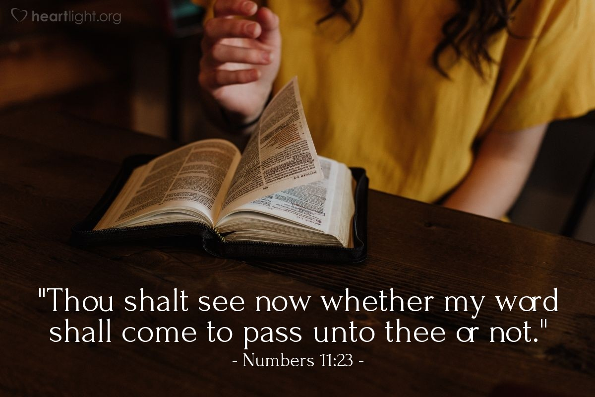 "Illustration of Numbers 11:23 — ""Thou shalt see now whether my word shall come to pass unto thee or not."""