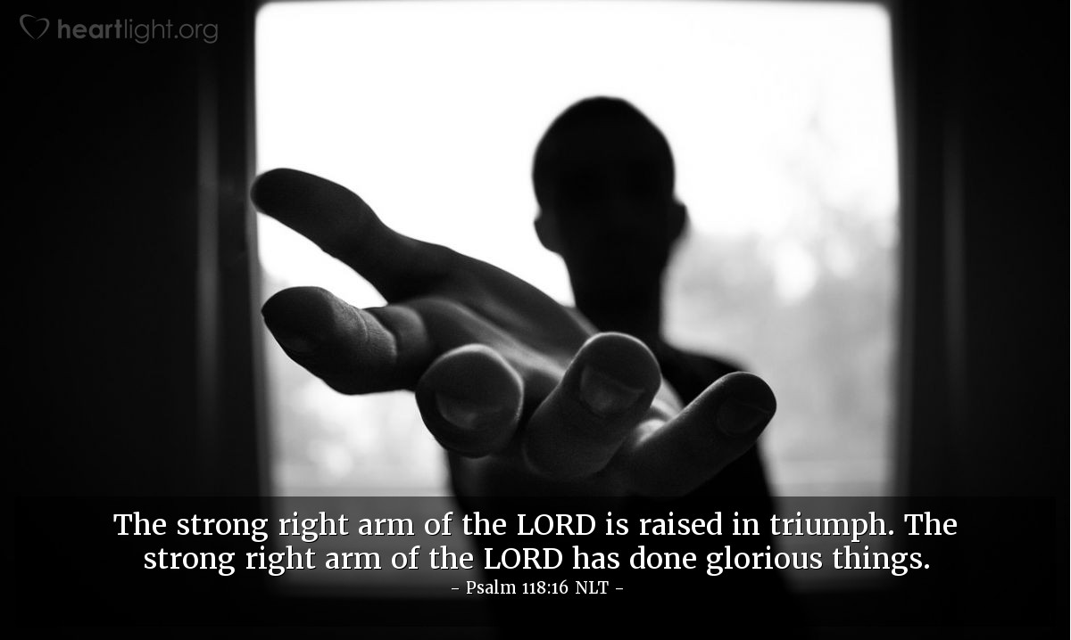 Illustration of Psalm 118:16 NLT — The strong right arm of the LORD is raised in triumph. The strong right arm of the LORD has done glorious things.