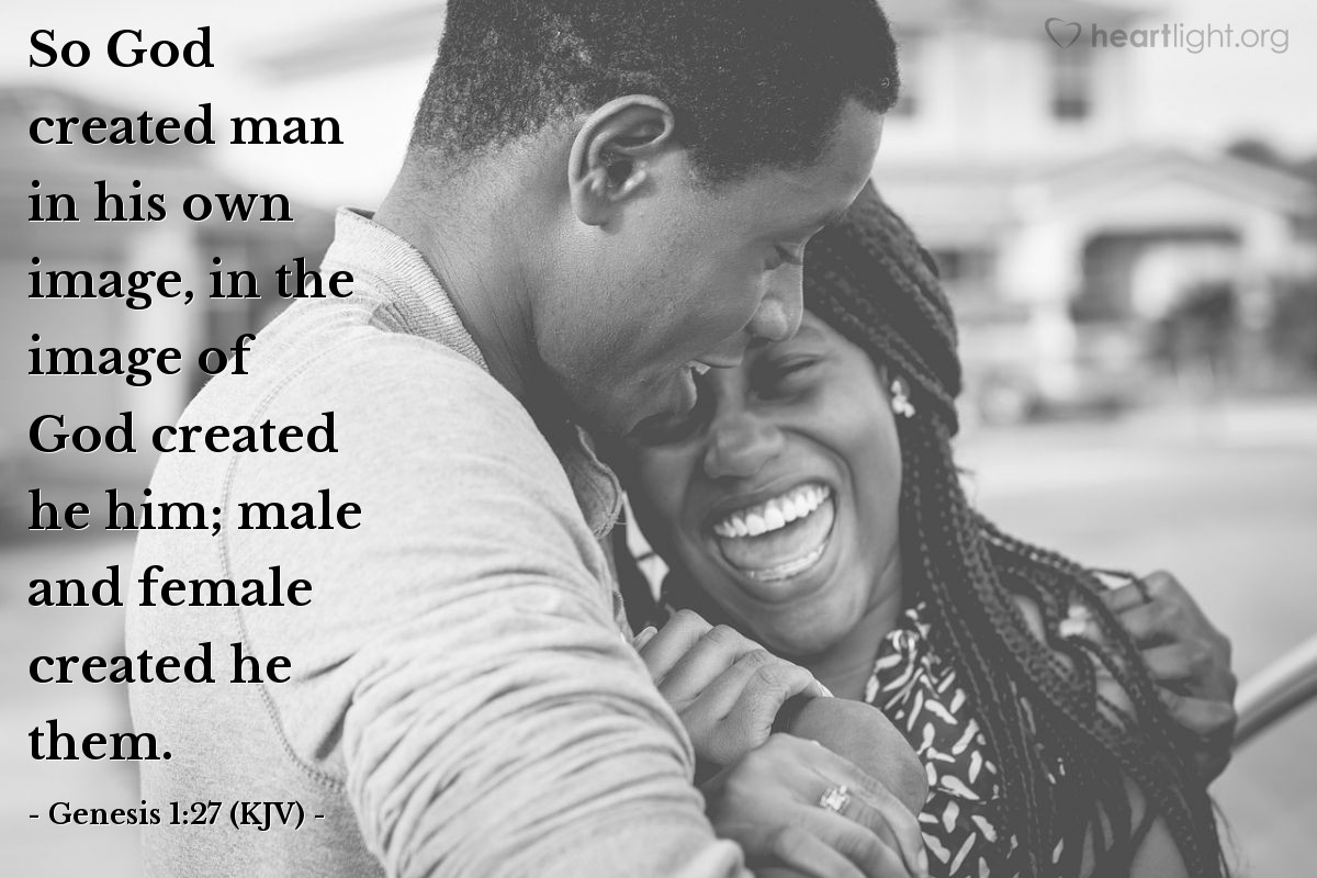 Illustration of Genesis 1:27 (KJV) — So God created man in his own image, in the image of God created he him; male and female created he them.