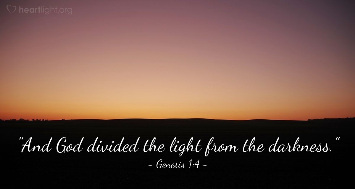 "Illustration of Genesis 1:4 — ""And God divided the light from the darkness."""