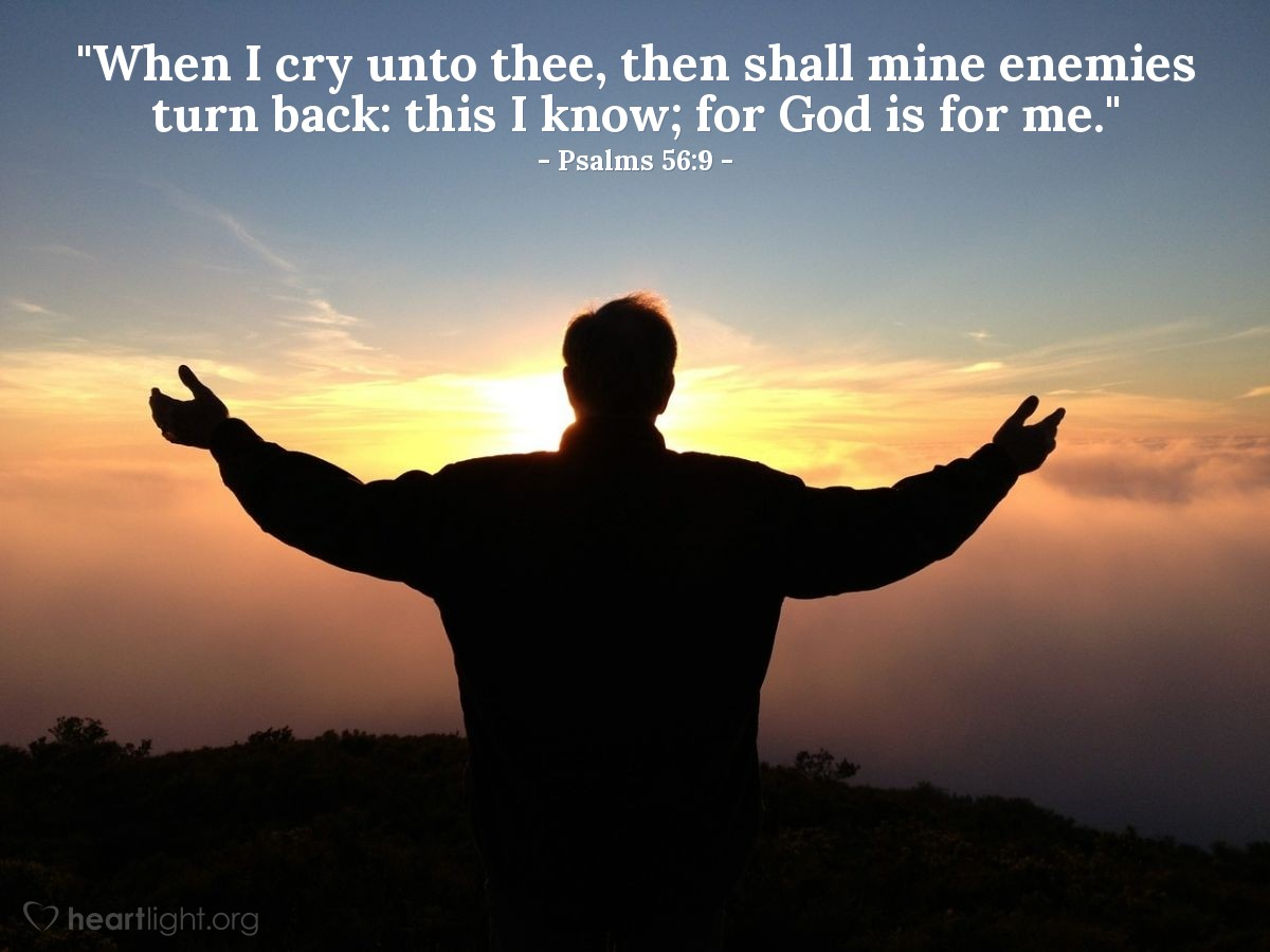 "Illustration of Psalms 56:9 — ""When I cry unto thee, then shall mine enemies turn back: this I know; for God is for me."""