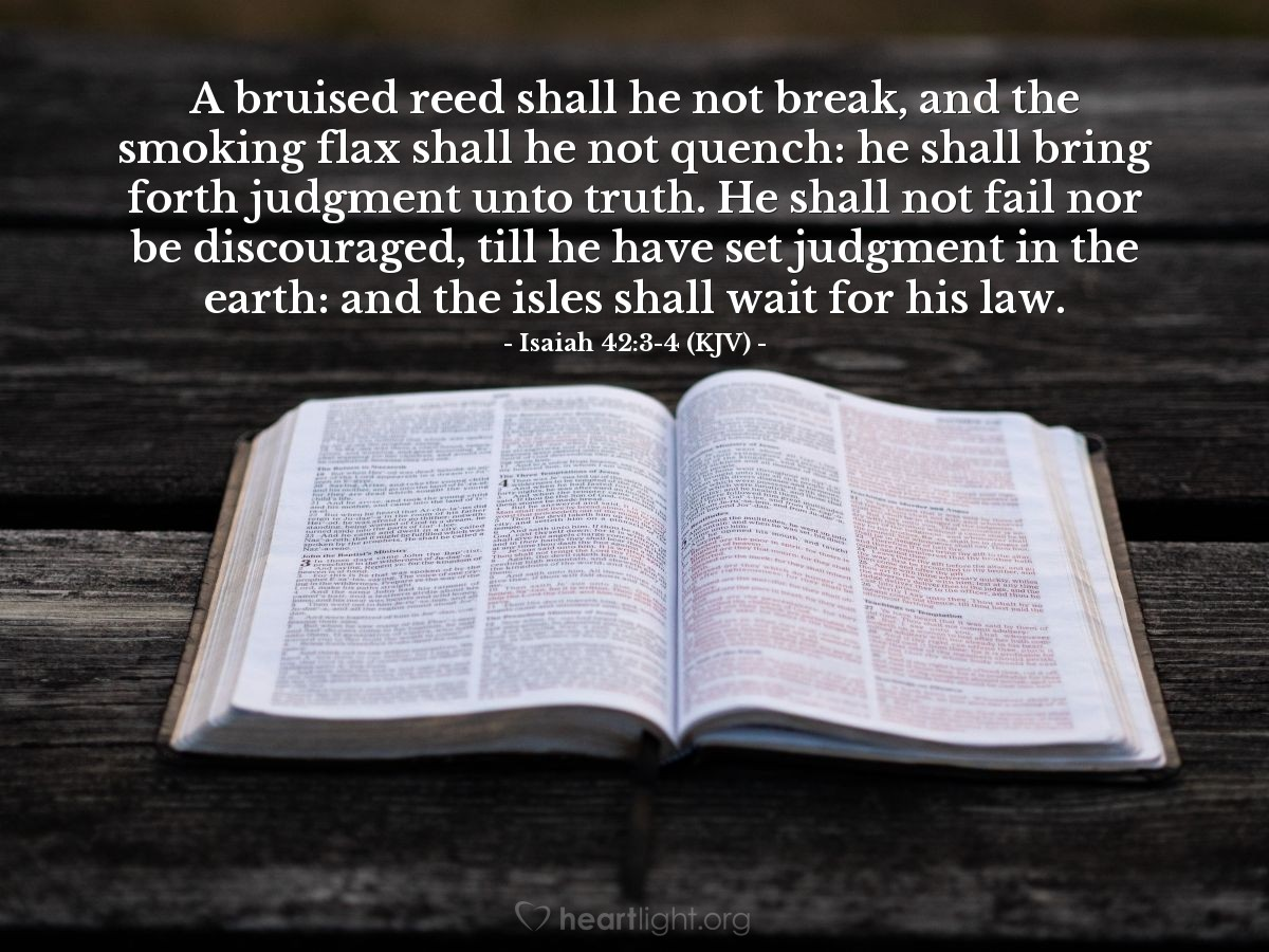 Illustration of Isaiah 42:3-4 (KJV) — A bruised reed shall he not break, and the smoking flax shall he not quench: he shall bring forth judgment unto truth. He shall not fail nor be discouraged, till he have set judgment in the earth: and the isles shall wait for his law.