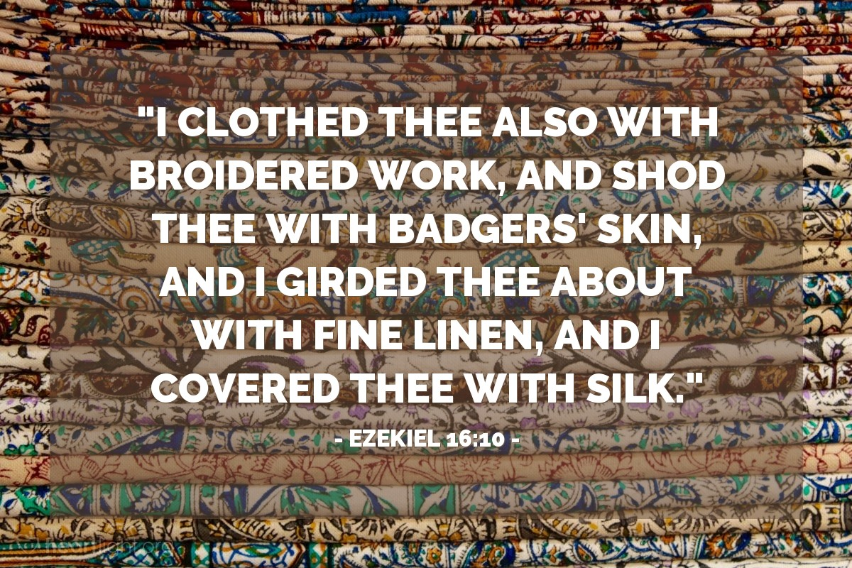 "Illustration of Ezekiel 16:10 — ""I clothed thee also with broidered work, and shod thee with badgers' skin, and I girded thee about with fine linen, and I covered thee with silk."""