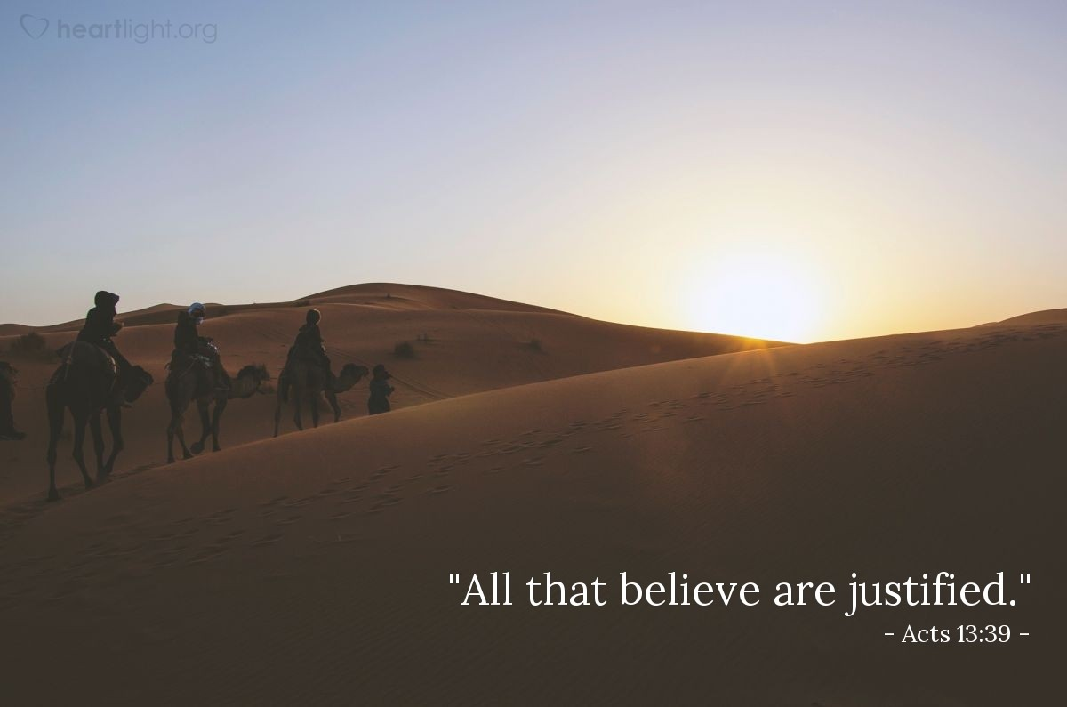"Illustration of Acts 13:39 — ""All that believe are justified."""