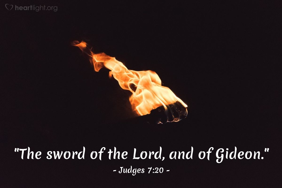 "Illustration of Judges 7:20 — ""The sword of the Lord, and of Gideon."""