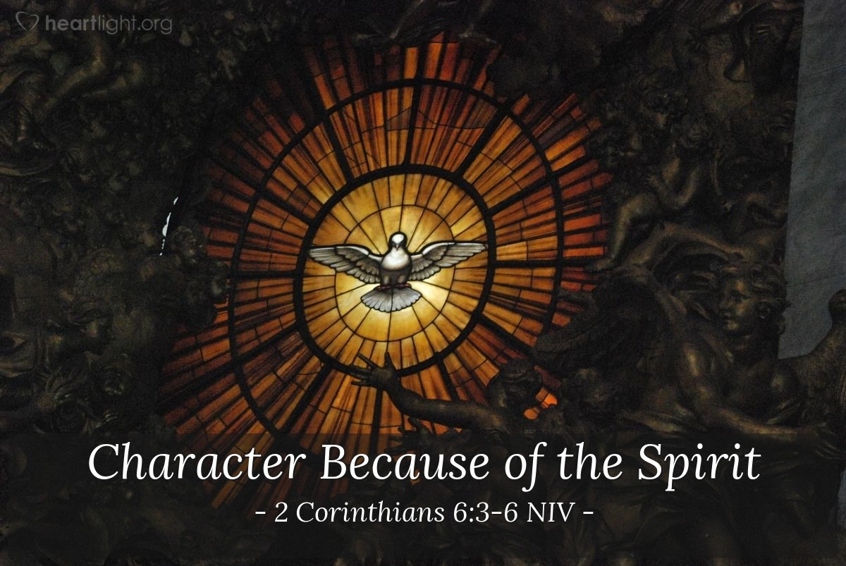 Illustration of 2 Corinthians 6:3-6 NIV —  in purity, understanding, patience and kindness; in the Holy Spirit and in sincere love; ...