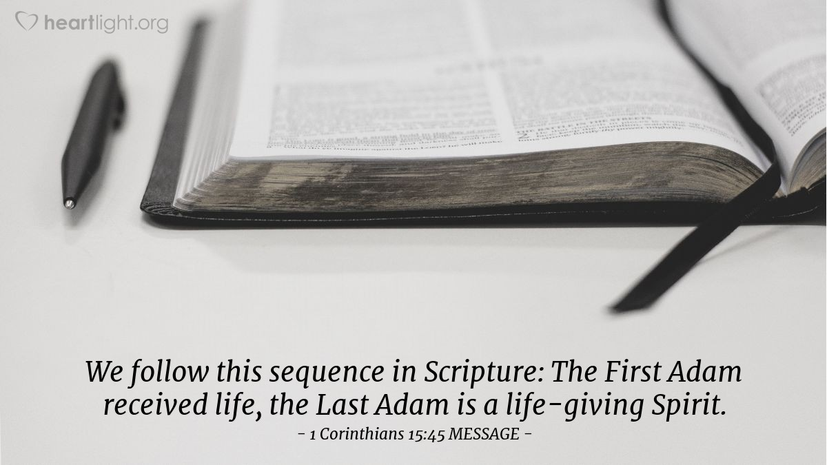 Illustration of 1 Corinthians 15:45 MESSAGE — We follow this sequence in Scripture: The First Adam received life, the Last Adam is a life-giving Spirit.