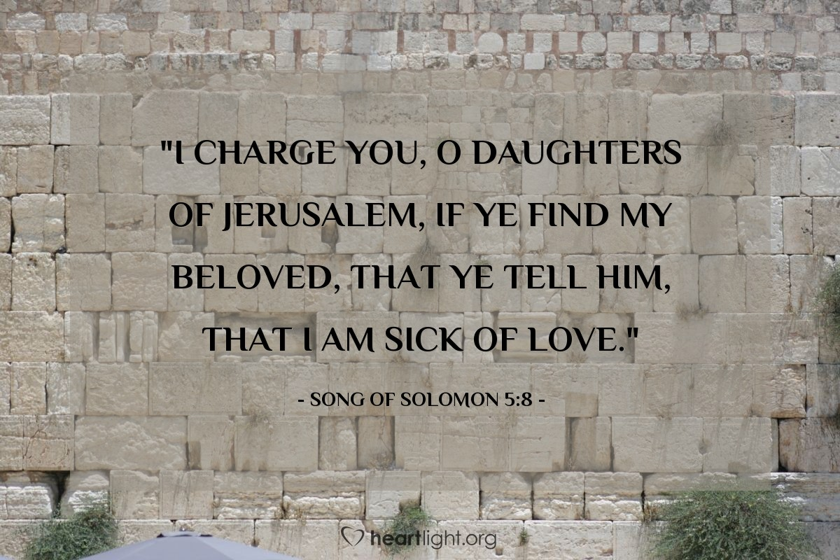 "Illustration of Song of Solomon 5:8 — ""I charge you, O daughters of Jerusalem, if ye find my beloved, that ye tell him, that I am sick of love."""
