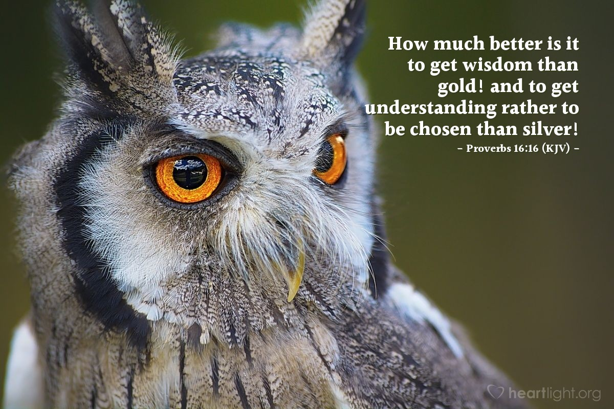 Illustration of Proverbs 16:16 (KJV) — How much better is it to get wisdom than gold! and to get understanding rather to be chosen than silver!