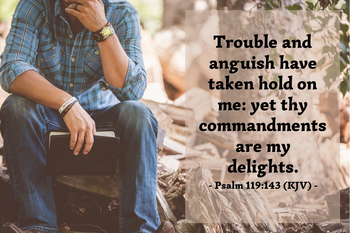 Illustration of Psalm 119:143 (KJV) — Trouble and anguish have taken hold on me: yet thy commandments are my delights.