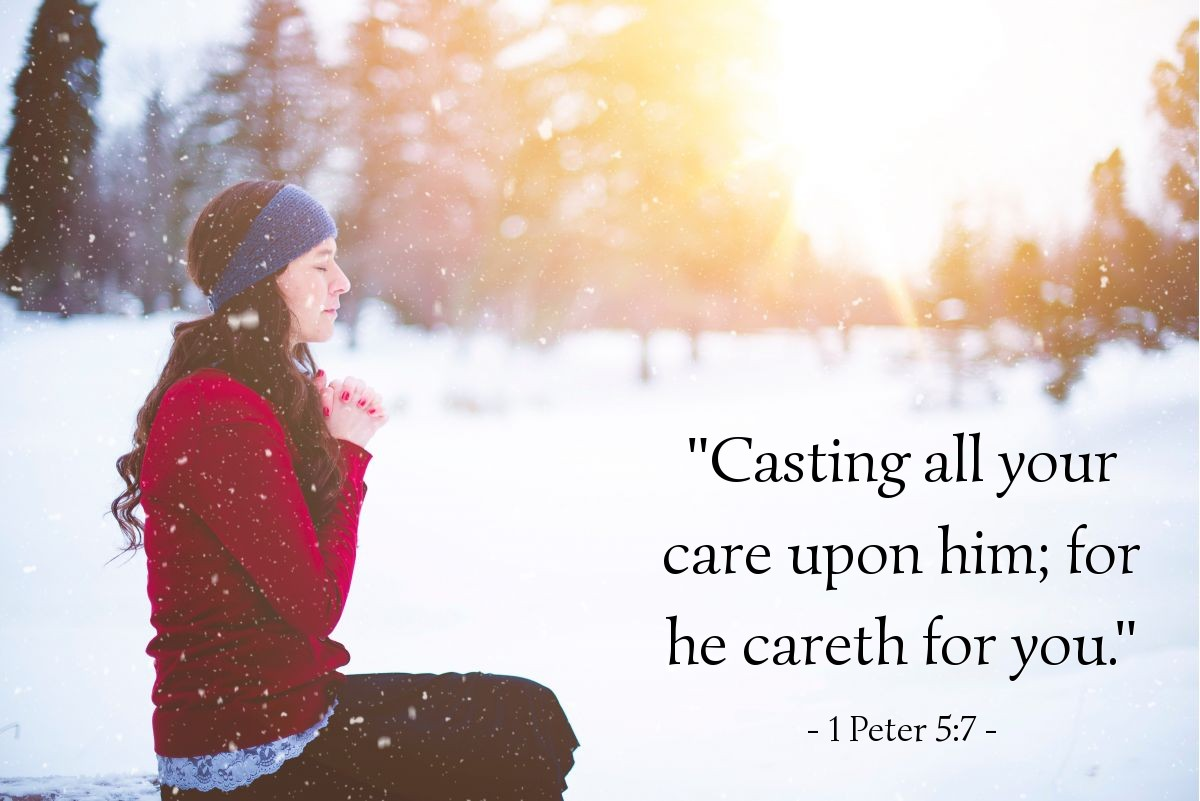 "Illustration of 1 Peter 5:7 — ""Casting all your care upon him; for he careth for you."""