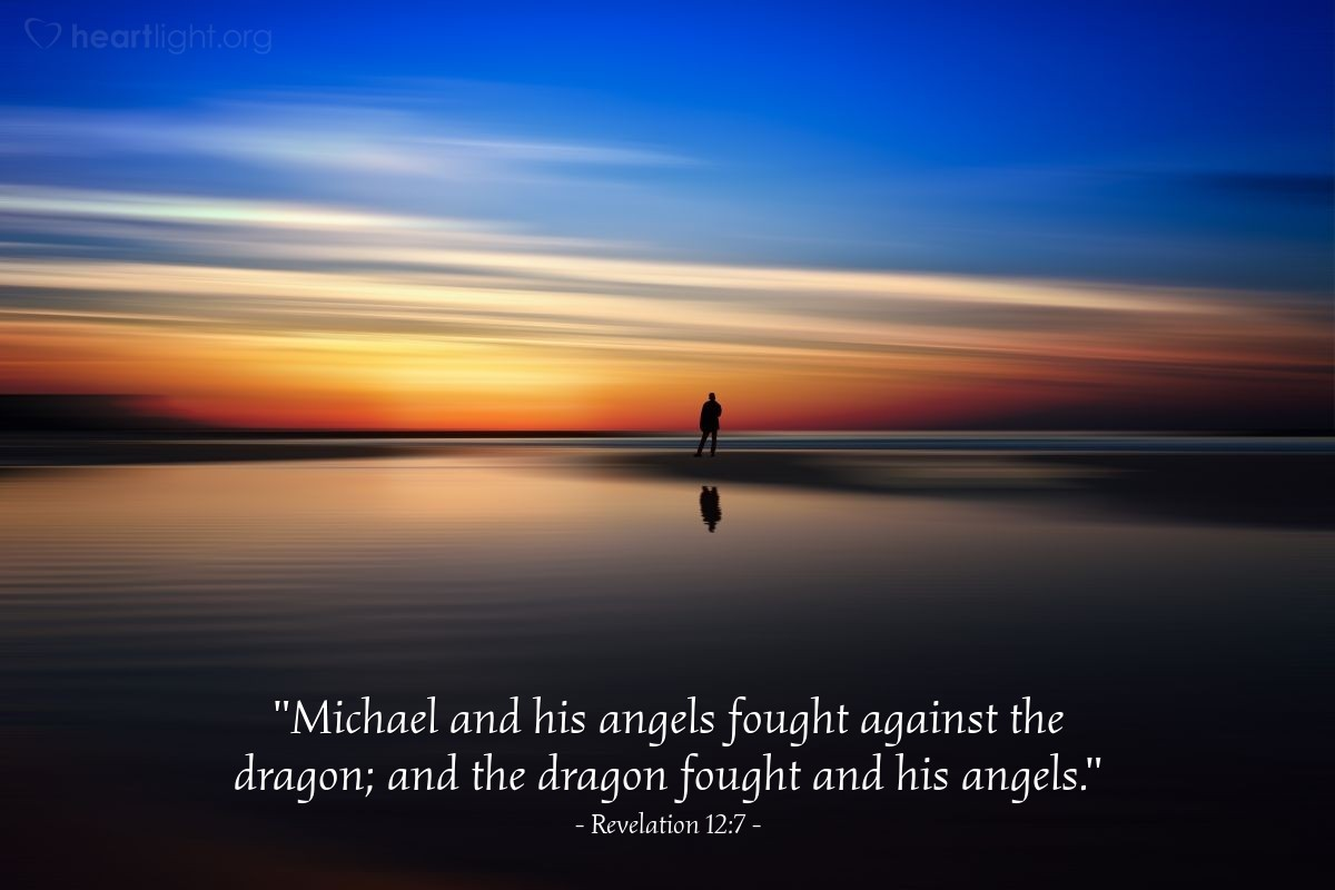 "Illustration of Revelation 12:7 — ""Michael and his angels fought against the dragon; and the dragon fought and his angels."""