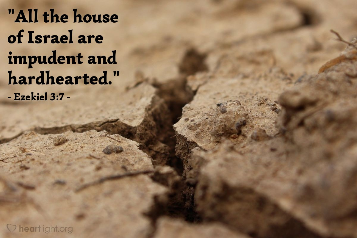 "Illustration of Ezekiel 3:7 — ""All the house of Israel are impudent and hardhearted."""