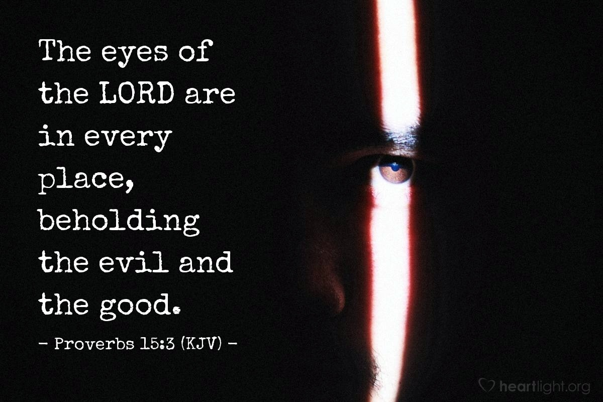 Illustration of Proverbs 15:3 (KJV) — The eyes of the LORD are in every place, beholding the evil and the good.