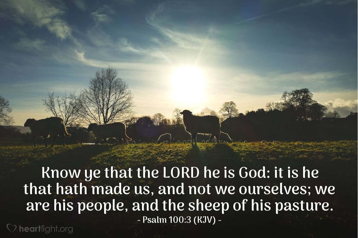 Illustration of Psalm 100:3 (KJV) — Know ye that the LORD he is God: it is he that hath made us, and not we ourselves; we are his people, and the sheep of his pasture.