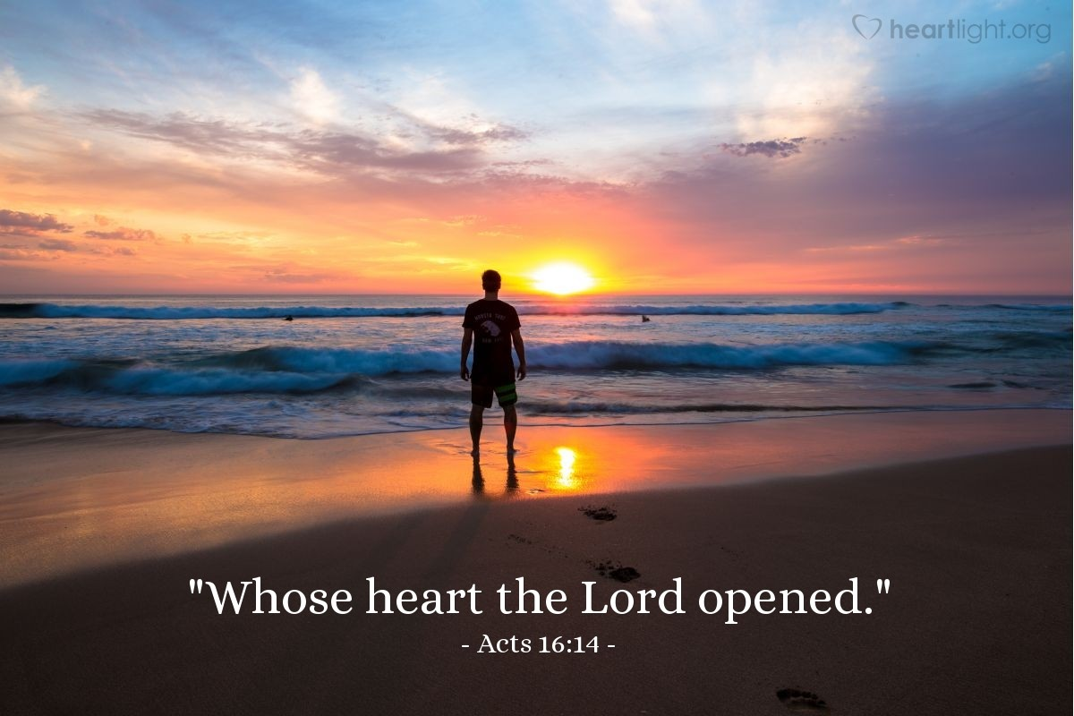 "Illustration of Acts 16:14 — ""Whose heart the Lord opened."""