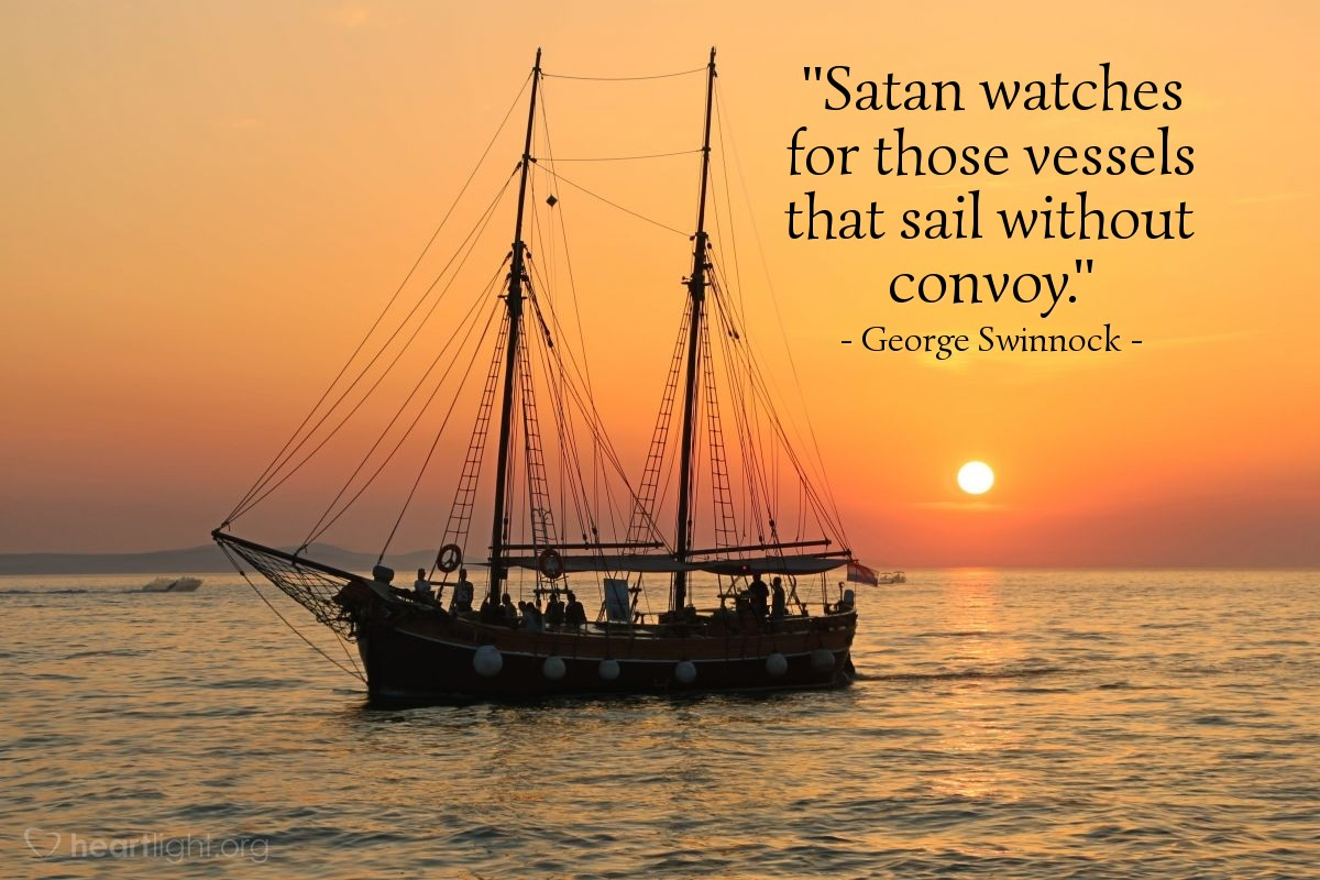 """Illustration of George Swinnock — """"Satan watches for those vessels that sail without convoy."""""""