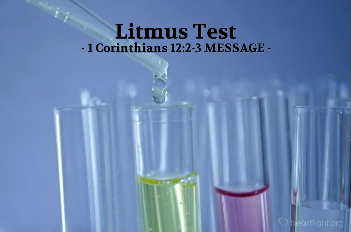 "Illustration of 1 Corinthians 12:2-3 MESSAGE — ""Jesus be damned!""   ——   ""Jesus is Master!"""