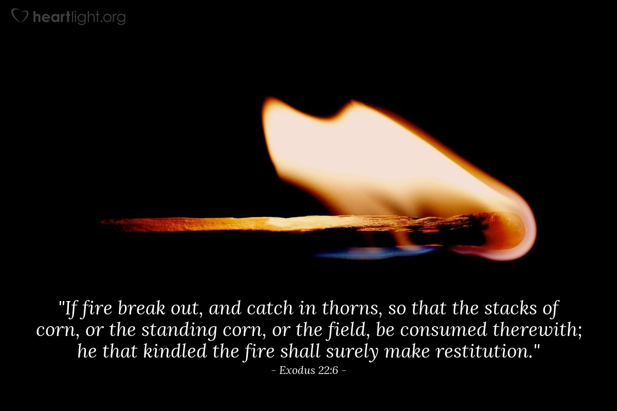 "Illustration of Exodus 22:6 — ""If fire break out, and catch in thorns, so that the stacks of corn, or the standing corn, or the field, be consumed therewith; he that kindled the fire shall surely make restitution."""