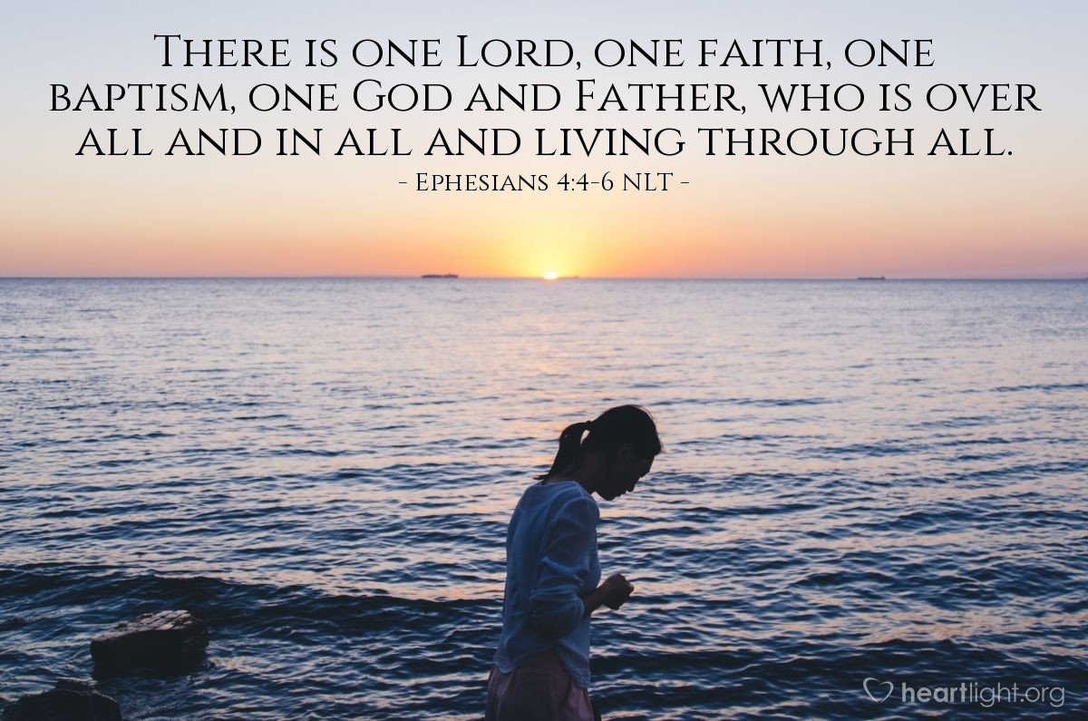 Illustration of Ephesians 4:4-6 NLT —  There is one Lord, one faith, one baptism, one God and Father, who is over all and in all and living through all.