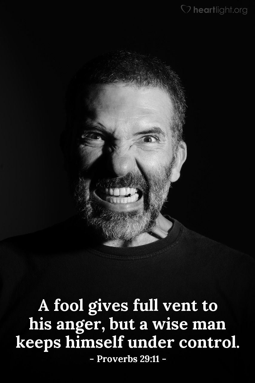 Illustration of Proverbs 29:11 — A fool gives full vent to his anger, but a wise man keeps himself under control.