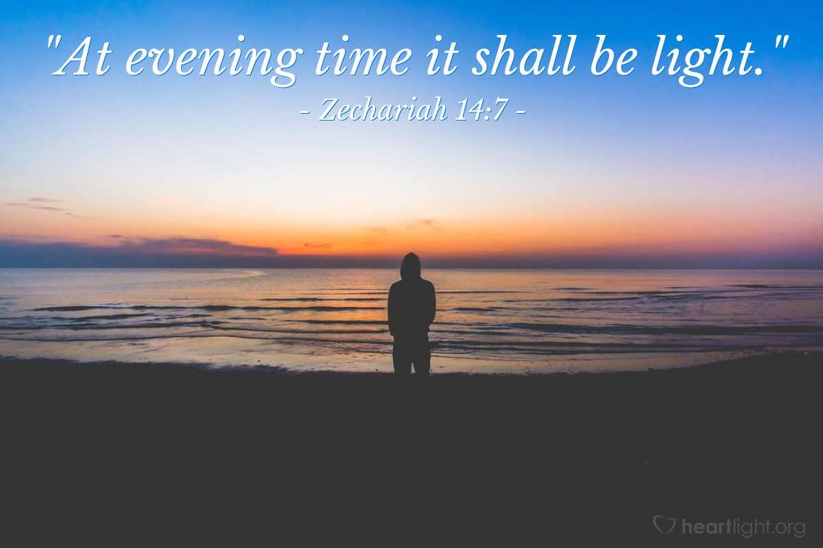 "Illustration of Zechariah 14:7 — ""At evening time it shall be light."""