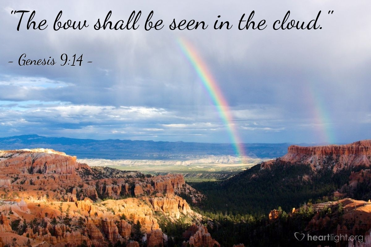 "Illustration of Genesis 9:14 — ""The bow shall be seen in the cloud."""