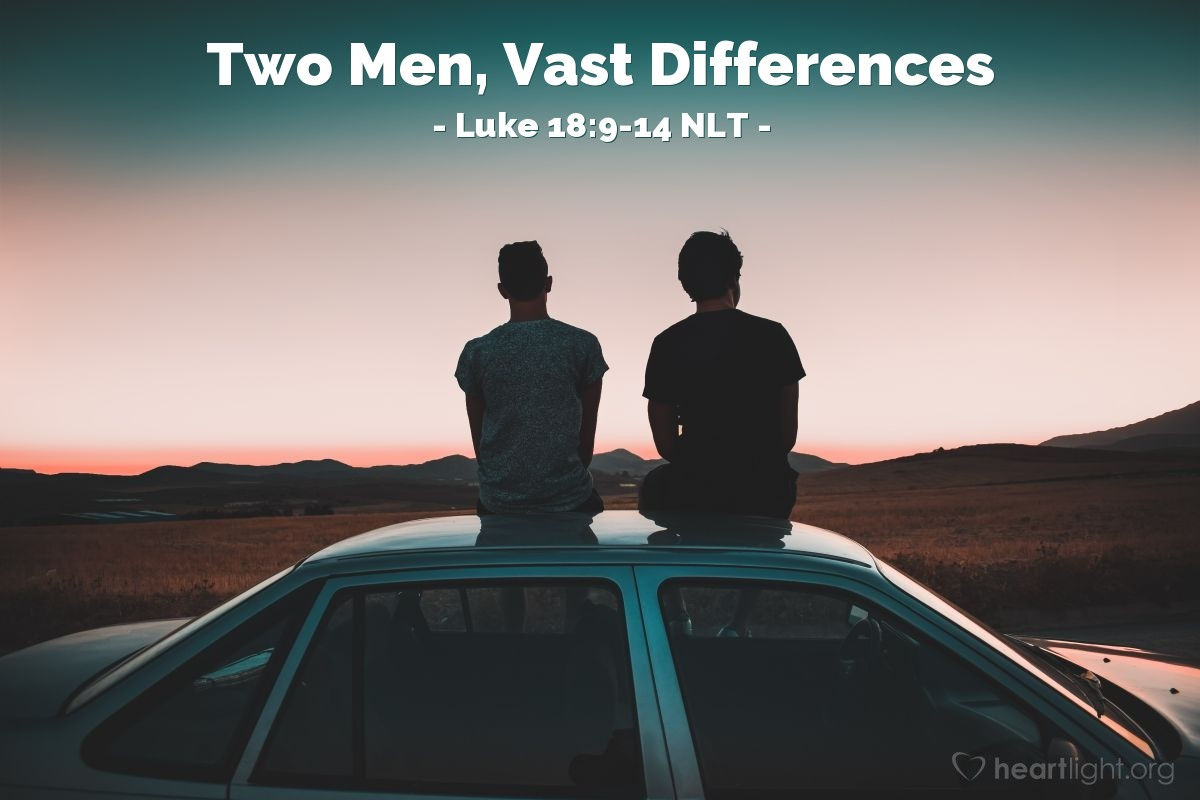 "Illustration of Luke 18:9-14 NLT — ""Two men went to the Temple to pray."""