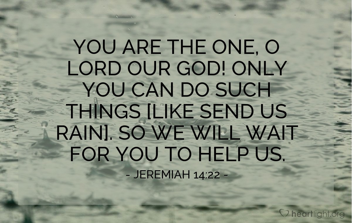 Illustration of Jeremiah 14:22 — You are the one, O LORD our God! Only you can do such things [like send us rain]. So we will wait for you to help us.