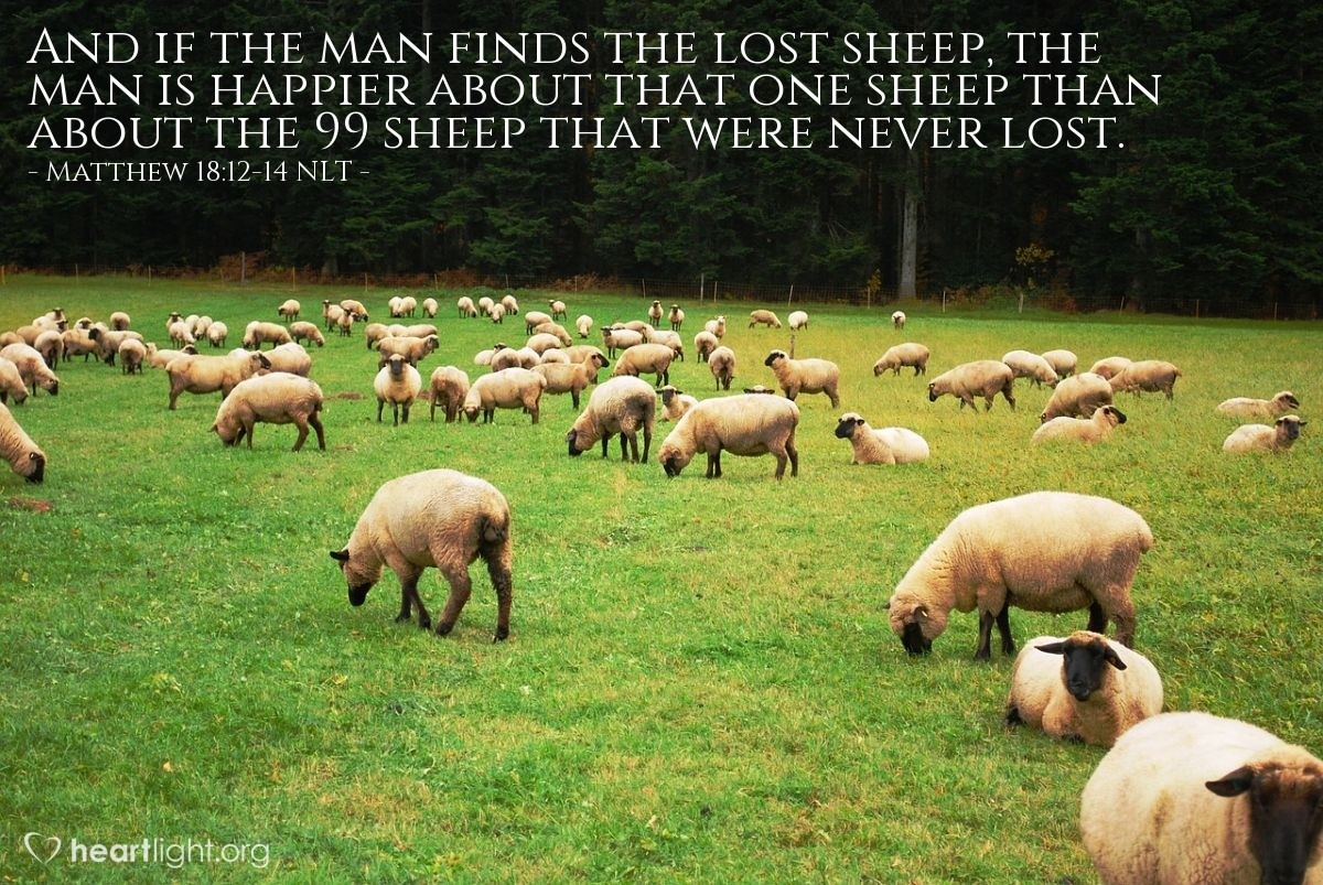 "Illustration of Matthew 18:12-14 NLT — ""If a man has 100 sheep, but one of the sheep becomes lost, then the man will leave the other 99 sheep on the hill."
