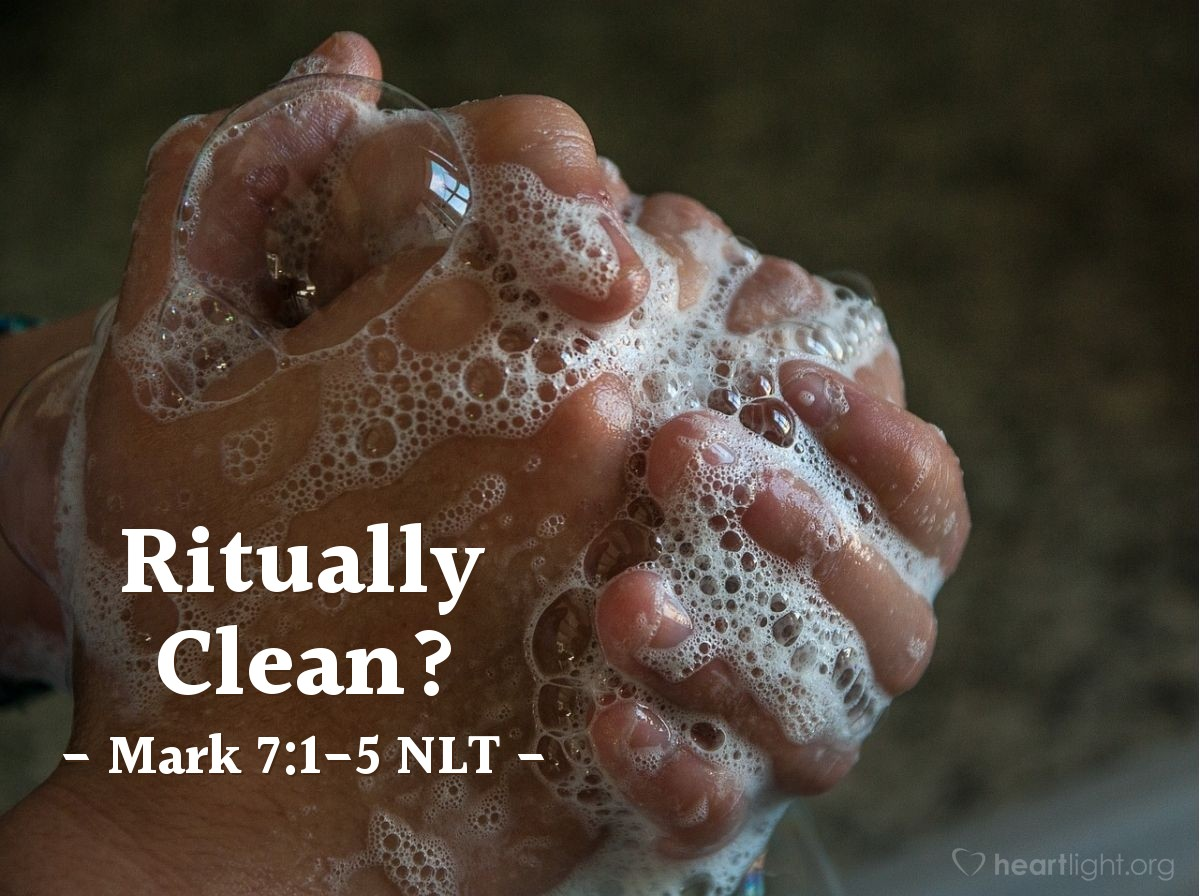 "Illustration of Mark 7:1-5 NLT — ""Not clean""   ——   ""Your followers don't follow the rules given to us by our great people that lived before us. Your followers eat their food with hands that are not clean. Why do they do this?"""