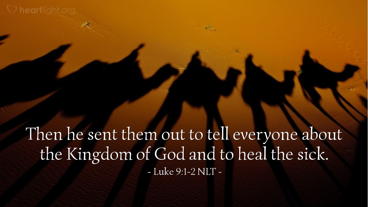 Illustration of Luke 9:1-2 —  Jesus sent the apostles to tell about God's kingdom and to heal the sick.