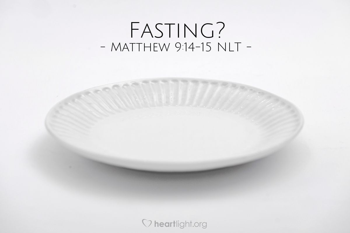 "Illustration of Matthew 9:14-15 NLT — ""We and the Pharisees fast often. But your followers don't fast. Why?"""