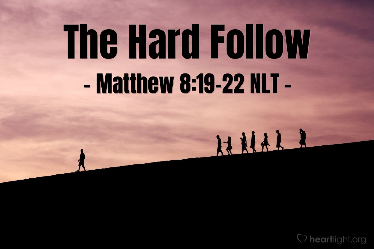 "Illustration of Matthew 8:19-22 NLT — ""Follow me, and let the people that are dead bury their own dead."""