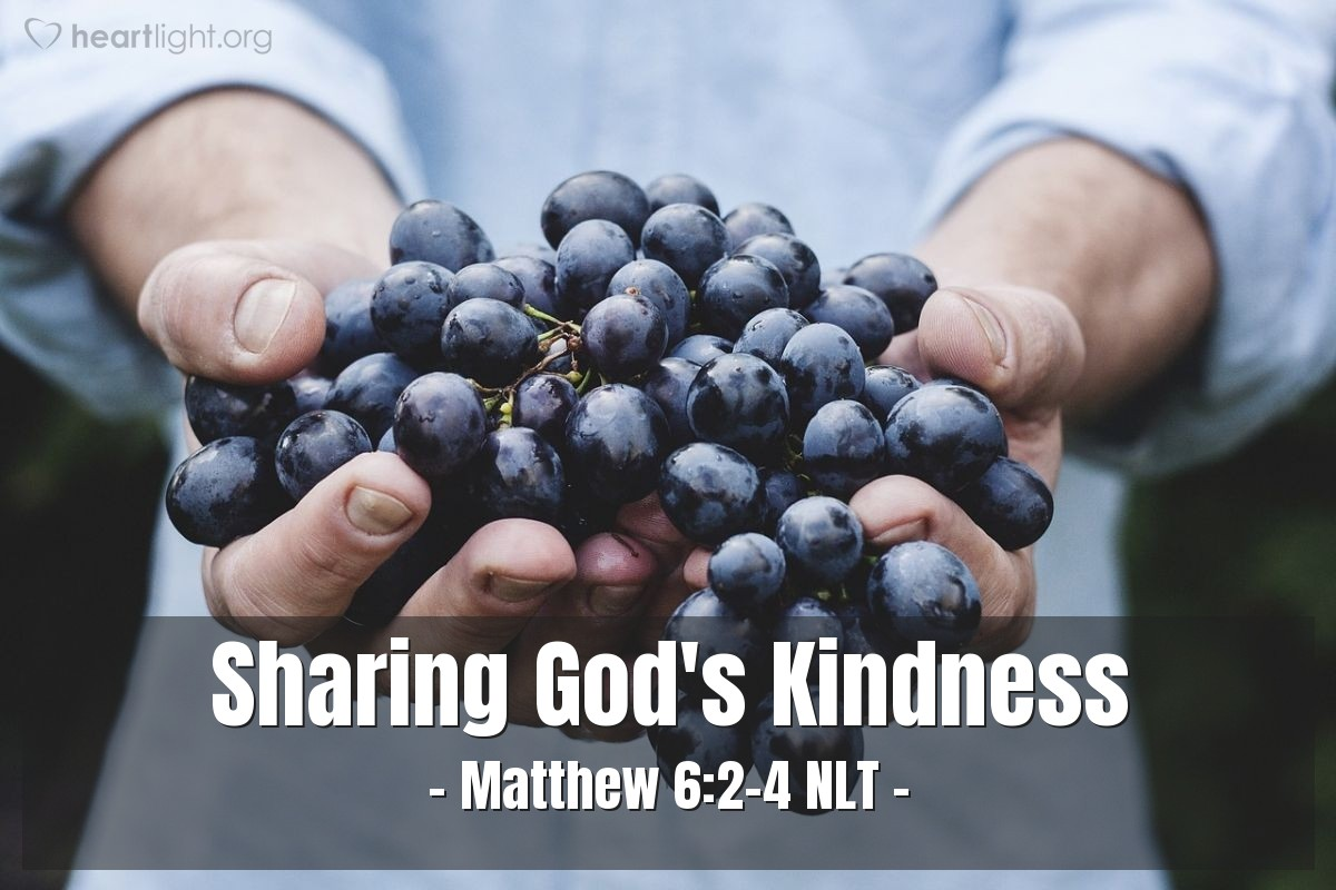 "Illustration of Matthew 6:2-4 NLT — ""When you give to poor people, don't announce that you are giving."""