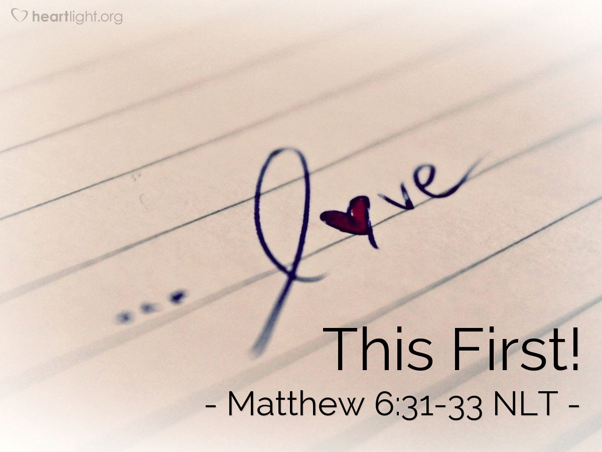 """Illustration of Matthew 6:31-33 — """"Don't worry and say, 'What will we eat?"""""""
