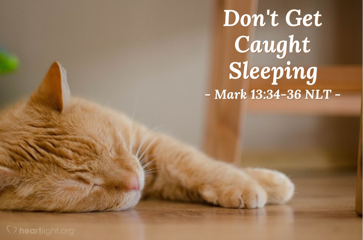 Illustration of Mark 13:34-36 NLT —  If you are always ready, then he will not find you sleeping.