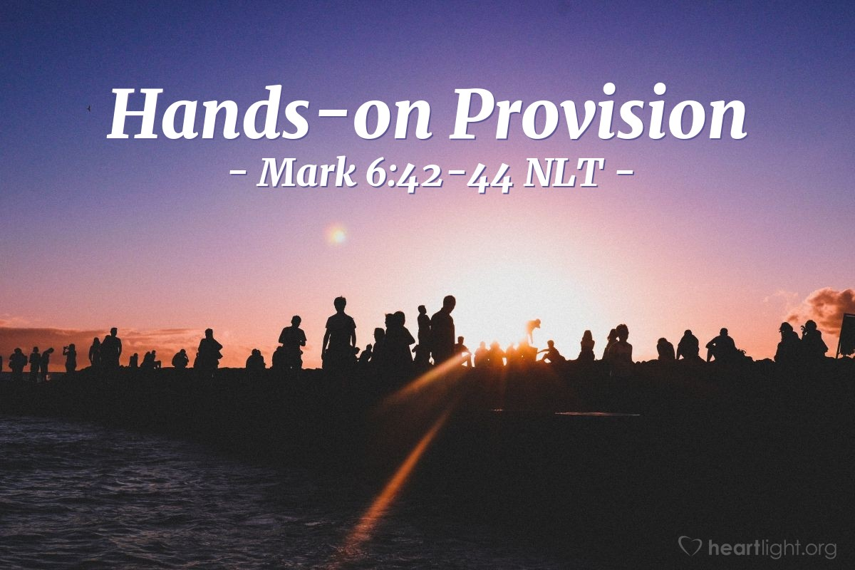 Illustration of Mark 6:42-44 NLT —  A total of 5,000 men and their families were fed.