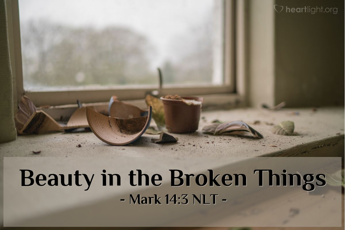 Illustration of Mark 14:3 NLT —  She broke open the jar and poured the perfume over his head.