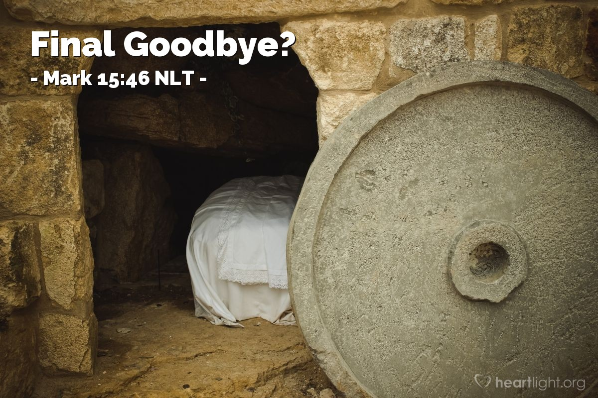 Illustration of Mark 15:46 NLT —  Then Joseph closed the tomb by rolling a large stone to cover the entrance.