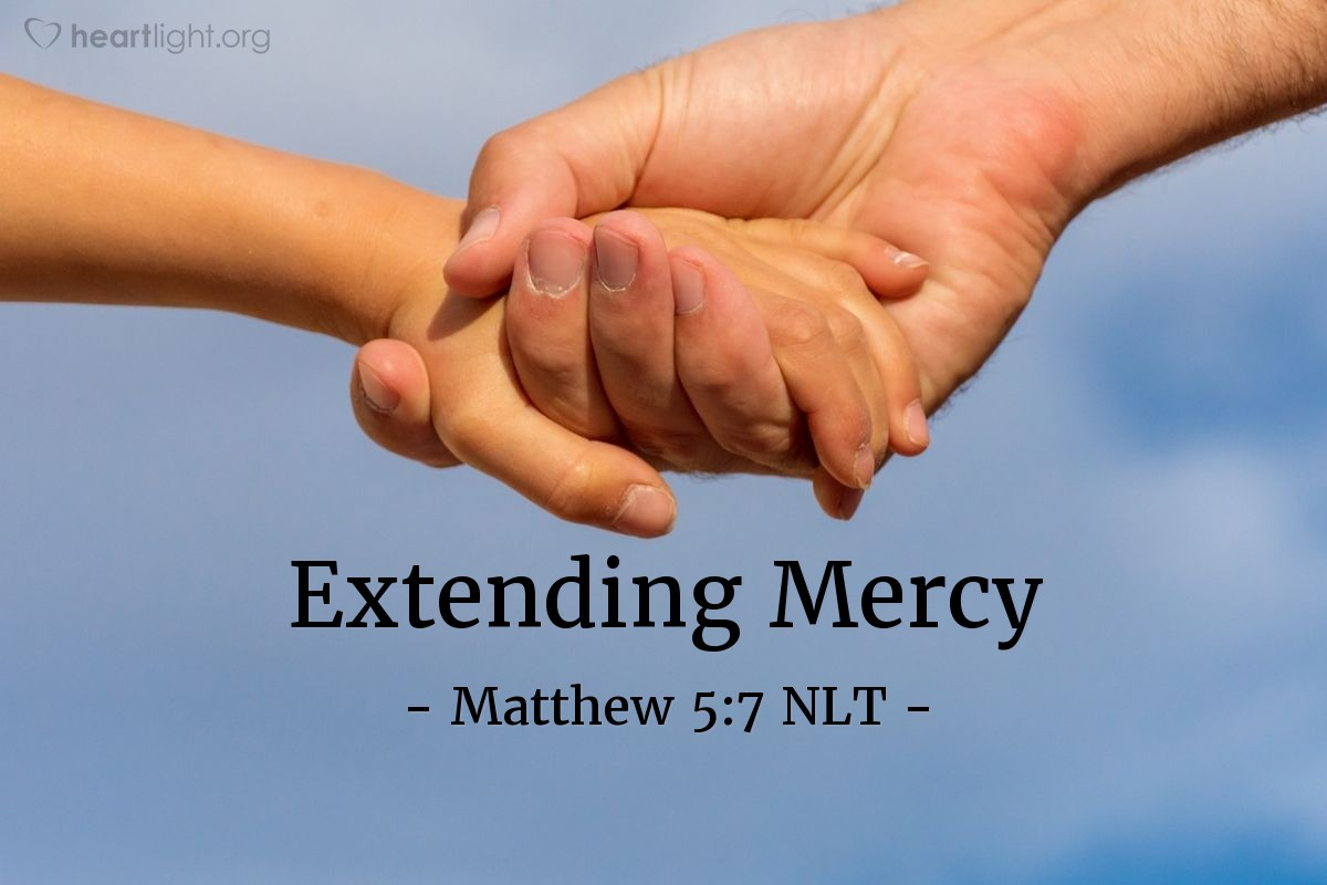 "Illustration of Matthew 5:7 — ""What great blessings there are for the people that give mercy to other people! Mercy will be given to them."""