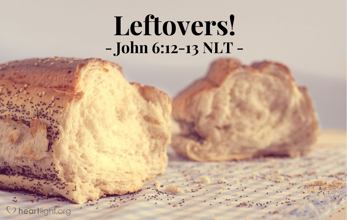 "Illustration of John 6:12-13 — ""Gather the pieces of fish and bread that were not eaten. Don't waste anything."""