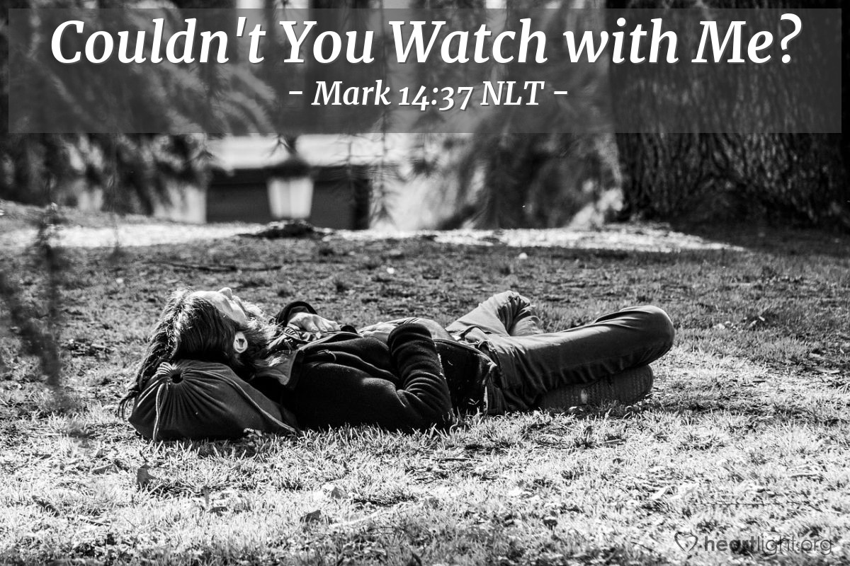 "Illustration of Mark 14:37 NLT — Then Jesus went back to his followers. He found them sleeping. He said to Peter, ""Simon, why are you sleeping? You could not stay awake with me for one hour?"""