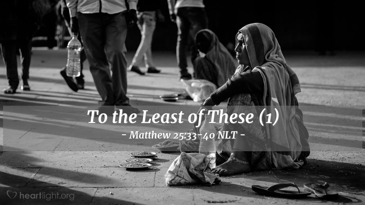 "Illustration of Matthew 25:33-40 — ""The Son of Man will put the sheep (good people) on his right and the goats (bad people) on his left. """