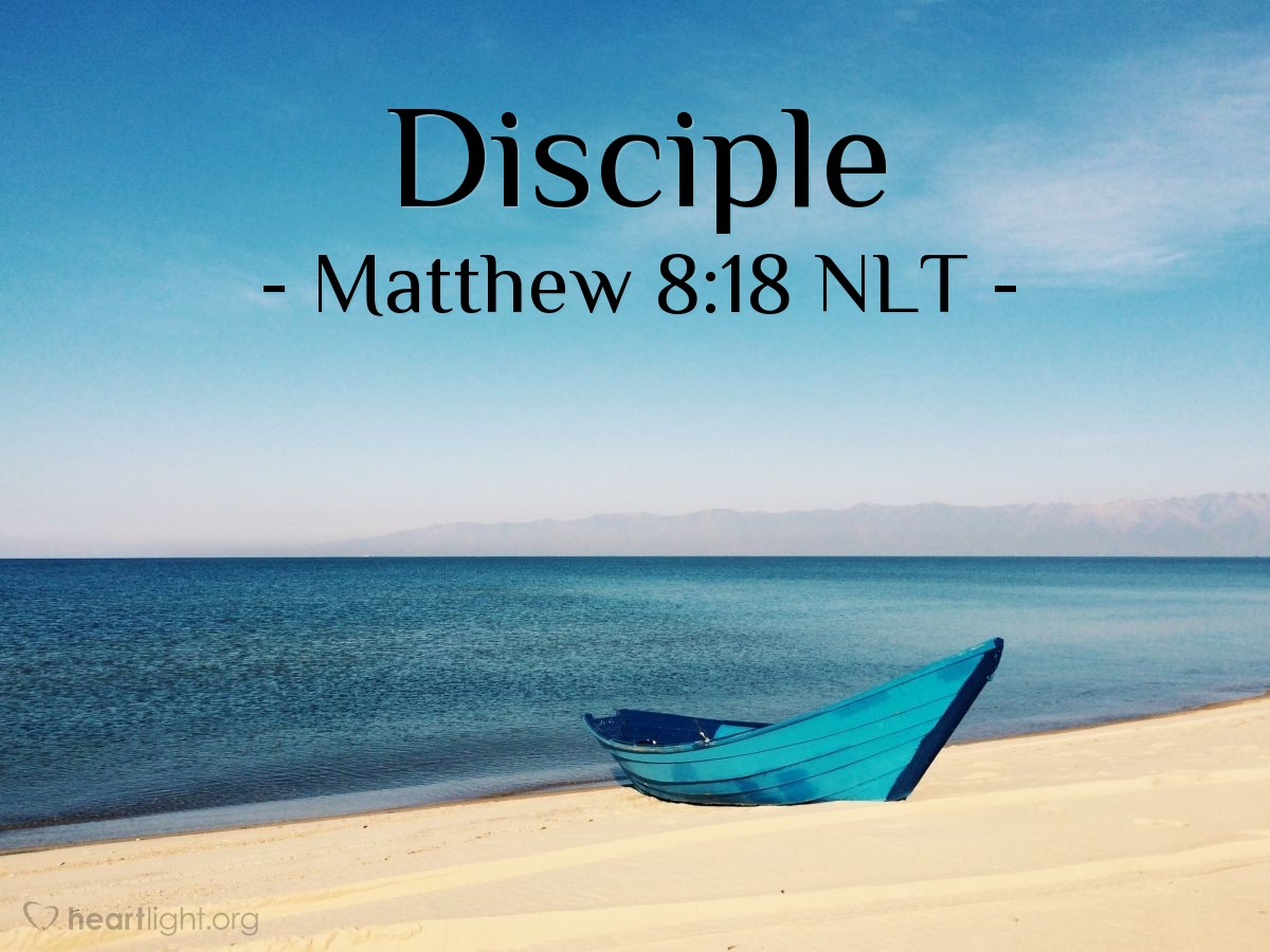 Illustration of Matthew 8:18 NLT — Jesus saw that all the people were around him. So Jesus told his followers to go to the other side of the lake.