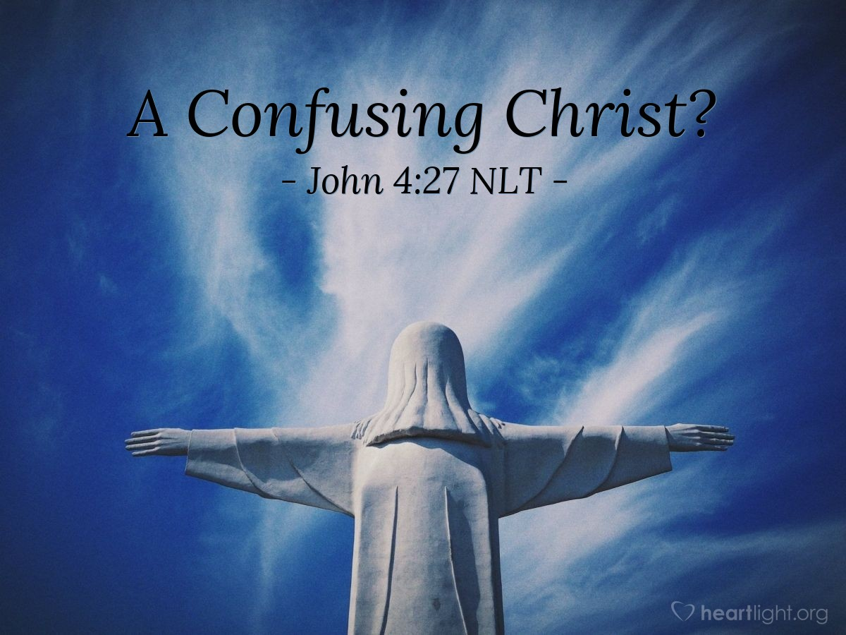 """Illustration of John 4:27 — At that time Jesus' followers came back from town. They were surprised because they saw Jesus talking with a woman. But none of them asked, """"What do you want?"""" or """"Why are you talking with her?"""""""