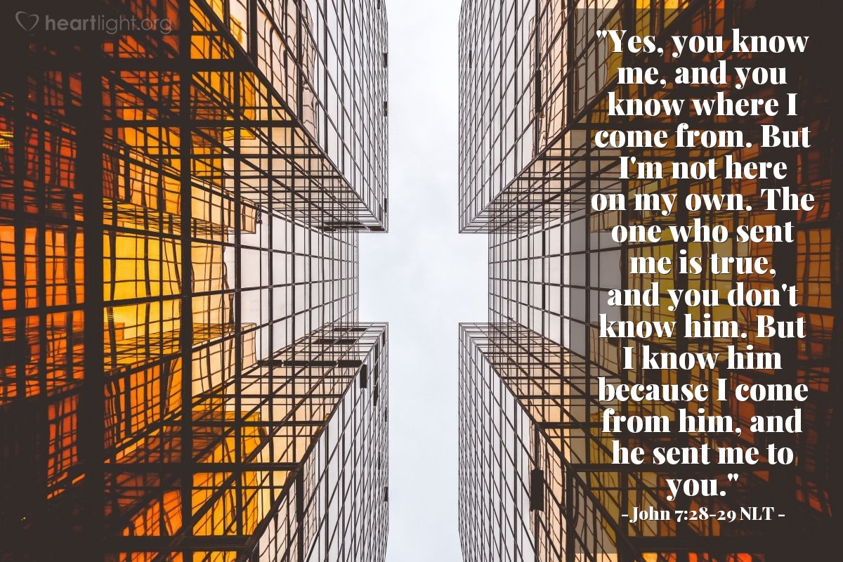 "Illustration of John 7:28-29 NLT — ""Yes, you know me, and you know where I come from. But I'm not here on my own. The one who sent me is true, and you don't know him. But I know him because I come from him, and he sent me to you."""