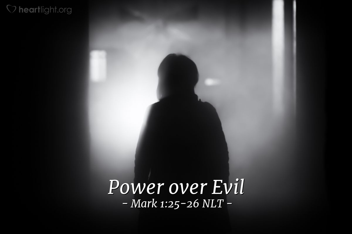 """Illustration of Mark 1:25-26 — Jesus said strongly, """"Be quiet! Come out of the man!"""" The evil spirit made the man shake. Then the spirit made a loud noise and came out of the man."""