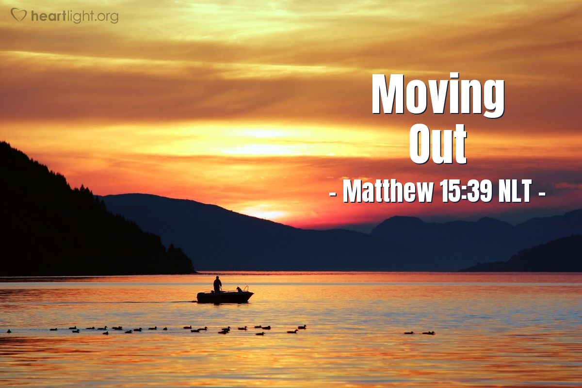 Illustration of Matthew 15:39 NLT — After they ate, Jesus told the people they could go home. Jesus got into the boat and went to the area of Magadan.