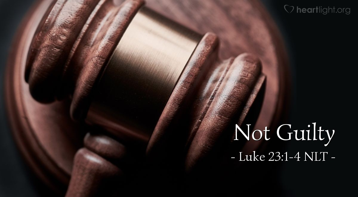 "Illustration of Luke 23:1-4 NLT — ""I find nothing wrong with this man."""